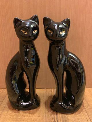瓷器黑貓 黑貓 擺飾貓咪 貓擺飾品 瓷器貓 貓 (ㄧ對兩只合售價)