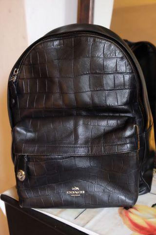 Coach Backpack in Croc Embossed Leather (Black)