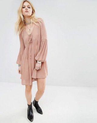 BN ASOS Glamorous Petite Smocked Dress with Bell Sleeves
