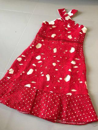 [Raya Sales] Red Lacey V-Back Dress