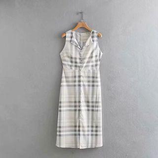 🥕Europw Round Neck Button Dress