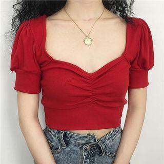 復古方領泡泡袖針織短版上衣 黑/紅