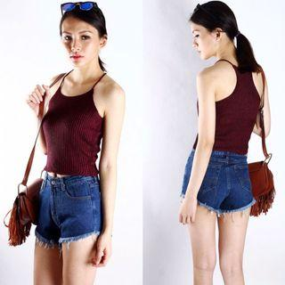 🚚 Ari ribbed perfection top (Maroon)