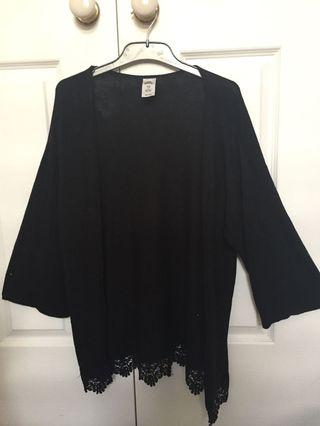 Black shawl coverup with lace detailing
