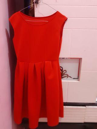 Dress Merah bahan wedges tebal