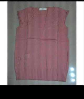 中國風短袖針織衫 旗袍式粉橘龍