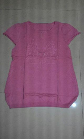 🚚 中國風短袖針織衫 小包袖粉紅