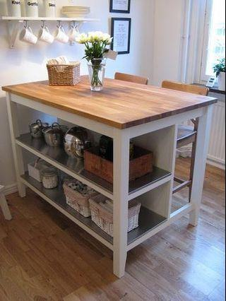 Heavy duty Ikea Stenstorp kitchen island with stools