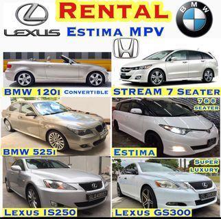 Car Rental ESTIMA MPV BMW 120i Merc E200 Lexus GS300 IS250 Honda Civic Stream Hybrid Vezel Accord Hyundia Avante  Convertible Mercedes Benz Toyota Grab Private Hired Rent Leasing