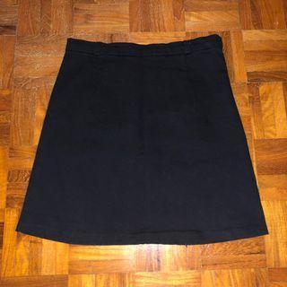Instock- Black A Line Suede Skirt