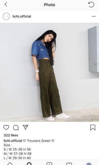 Lichi green wide pants