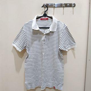 White Stripes Collar Top
