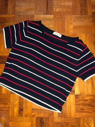 Instock! Black Red White Striped Top