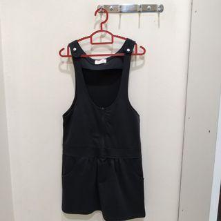 Black overalls with zip