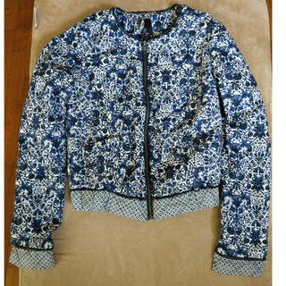Blue print quilted crop jacket