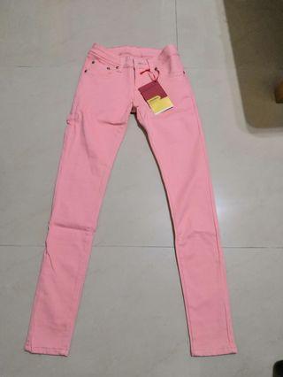 馬卡龍粉色鬆緊長褲