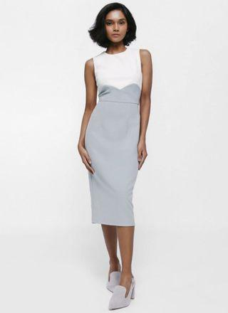 🚚 Lovebonito Merina Colourblock Midi Dress (Dusty Blue)