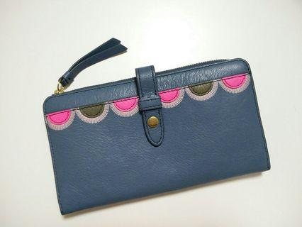 Dompet Fossil Fiona Leather Faded Indigo