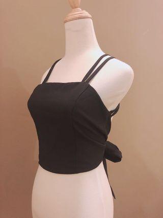Self tie Black Top (Bareback Black Top) #GayaRaya