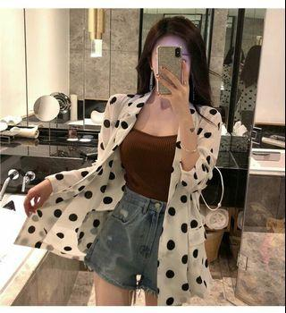(PO) 2 Colours - Polka Dots Casual Suit