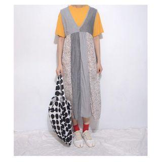 。error dot。日本直條碎花拼布無袖洋裝