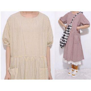 。error dot。日本作文稿紙雙口袋格紋洋裝