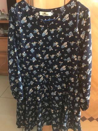 深藍色厚雪紡連身裙