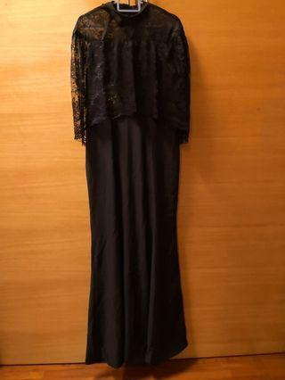 Lace ribbon long black mermaid evening dress #GayaRaya