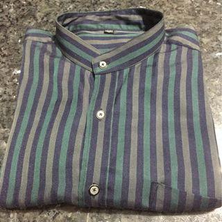 經典藍綠色條紋襯衫