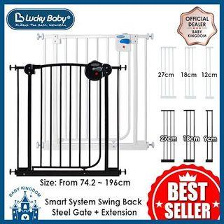 🚚 Baby Safety Gate (Lucky Baby Smart System Swing Back Steel Gate with Extensions)
