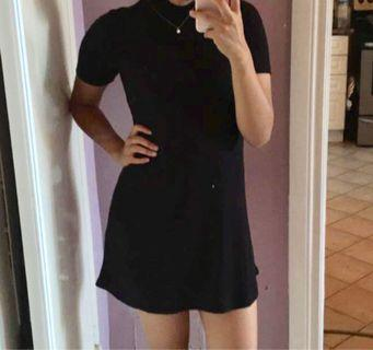 Mini Black Mock-Turtle Neck Dress