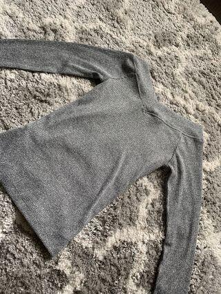 F21 Grey Off-the Shoulder Long-Sleeve (size: S-M)