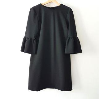 ZARA Shift Dress with Statement Sleeves in Black