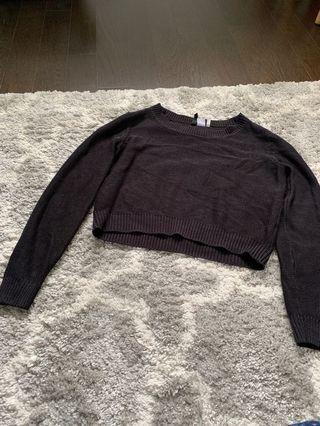 H&M Black Cropped Sweater (size: S-M)