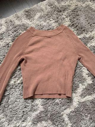 H&M Pink Cropped Long Sleeve (size: S-M)