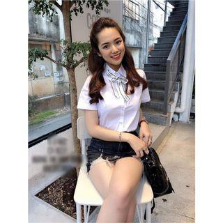 🚚 (BN) White Short Sleeves Shirt with Removable Bow