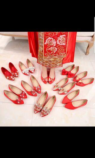 Red embroidery shoes