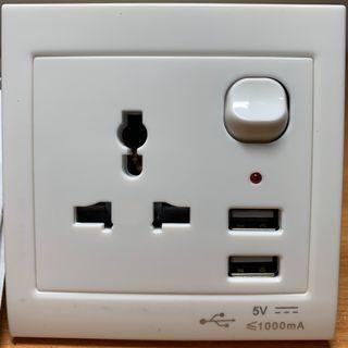 Wall Socket with 2x USB Charging