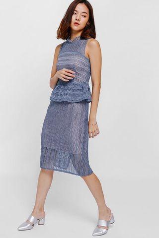 Love Bonito Oleanda Crochet Lace Peplum Dress