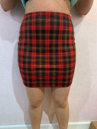 Checkered red bodycon skirt