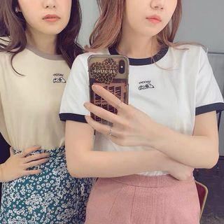 日系Snoopy刺繡純棉短袖Tshirt 多色入