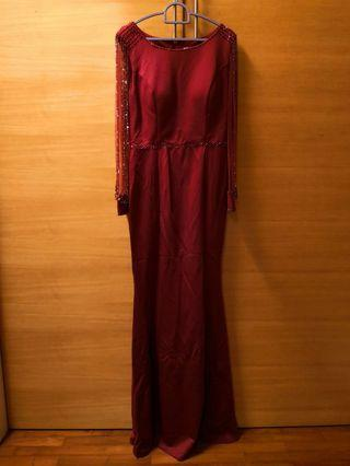 Red Long mermaid dinner dress #GayaRaya