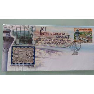 *RARE* Malaysia KLIA Commemorative Cover First Day of Issue 1998 Stamp & Pewter Edition 1998