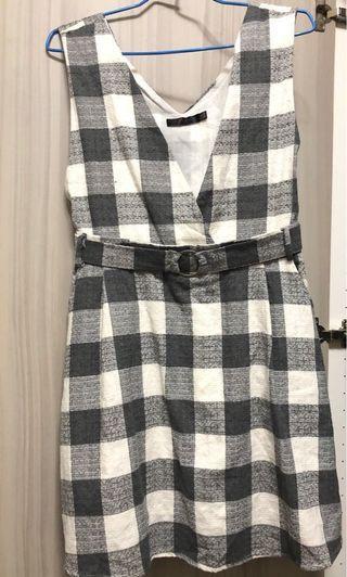 🚚 格紋高含棉縮腰吊帶洋裝 (OB嚴選