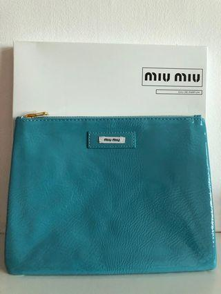 Miu Miu large turquoise pouch