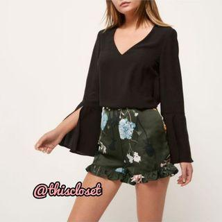 BN River Island Satin Frill Hem Shorts in Green Florals