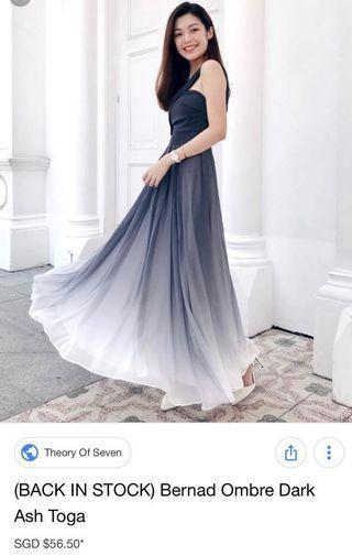 BNIP TOS Bernad ombré in dark ash maxi dress