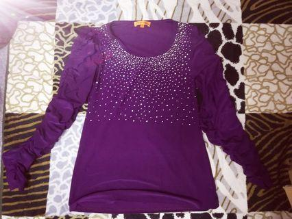 Blouse Purple Blink with ruffles on the arm #GayaRaya