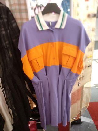 紫橙色女裝裙