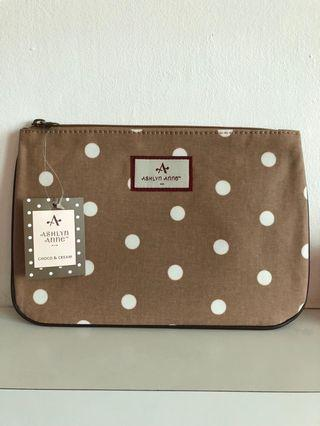 Ashley Anne Pouch - Brown with White Polka Dots